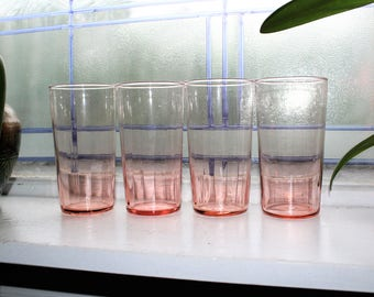 4 Pink Depression Glass Ribbed Tumblers Vintage 1930s