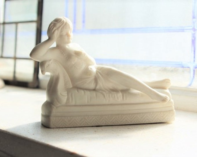 Art Deco Figurine Reclining Woman Semi Nude Vintage 1920s