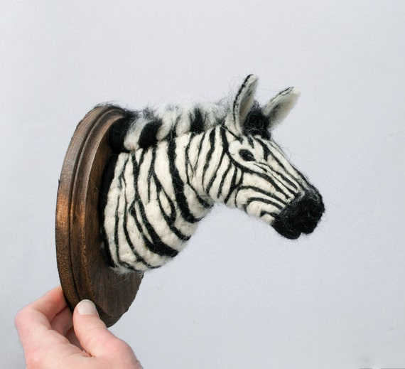 Wool Faux Taxidermy Plains Zebra