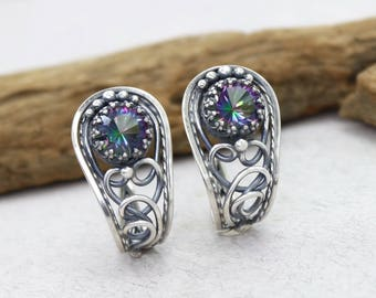 Mystic Topaz Earrings Purple Green Stone Earrings Natural Stone Earrings Natural Topaz Mystic Quartz Earrings Earings Stud Earrings Sterling