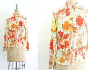 Vintage 1970s Floral Blouse Orange Pink Red Floral Blouse Poppy Shirt Daisy Shirt Orange Poppy Blouse California Poppy Daisy Blouse L