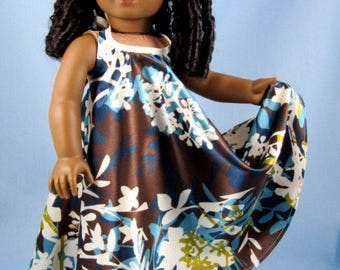"Doll Clothes 18 Inch - Fits American Girl Dolls - Desert Sunrise Maxi Dress - Doll Clothing - 18"" Doll Clothes - Blue and Brown Floral"
