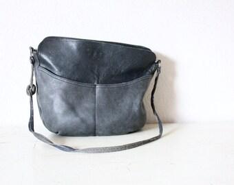 Vintage Rustic Midnight Leather Handbag