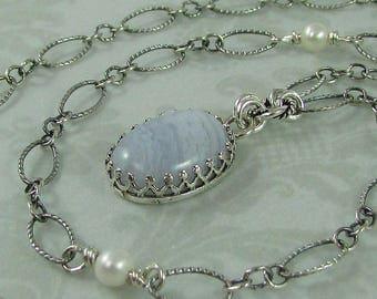 Blue lace agate pendant necklace - vintage style filigree bezel necklace - Victorian style sterling silver necklace - rustic boho necklace
