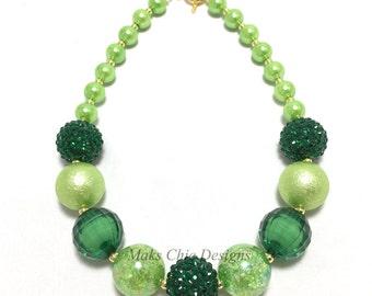 Toddler or Girls St Patricks Day Chunky Necklace - Green and Gold Chunky Necklace - St Patricks Day Necklace - Girls Green Necklace