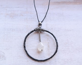 Black Leather Dreamcatcher Necklace with Moonston
