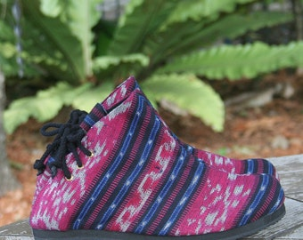 Womens Boots In Berry And  Blue Hand Woven Ikat,  Vegan Ankle Boots - Amber FREE Shipping