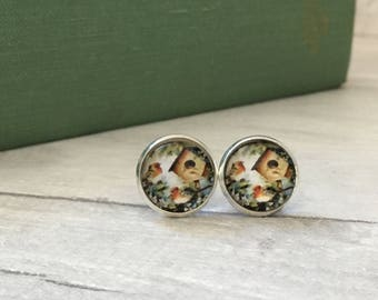 Glass bird earrings in stud design, nature jewelry, bird jewellery, spring fashion for women, etsy uk, pretty earrings, gifts for mother, uk