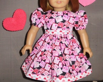 "Handmade Doll Clothes fits/for 18 inch American Girl Doll ~ ""Be Mine"" Pink, Red, White & Black Valentine's Hearts Print Dress"