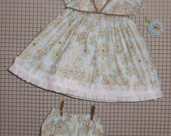 "Handmade 20 - 22 Inch Baby Doll Clothes ~ ""Little Princess"" Light Blue, Gold & White Floral Print 2-pc Dress Set with Panties"