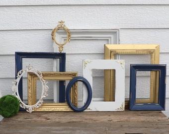 Set of 9 Open Frames - Navy, Gold, White - Wall Gallery - Nursery - Wedding - Vintage Frames - Frame Set - Scatter Frames - Oval Frames