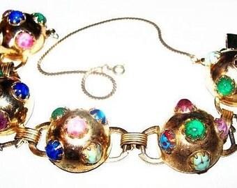 """Gripoux Link Bracelet Pastel Color Cabochons & Art Glass Stones Gold Metal Domed Circles Art Deco 7 3/4"""" Vintage"""