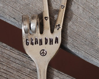 GRANDMA Garden Marker stake herb pots Made from Vintage Silver Plate FORK PEACE Sign with Stars and Hearts