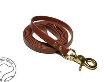 """Milk Chocolate Brown Small Dog Leash - 1/2"""" (12mm) Wide Biothane - Thin Leash - Choice of: 4ft, 5ft, 6ft (1.2, 1.5, 1.8m) and Hardware Type"""