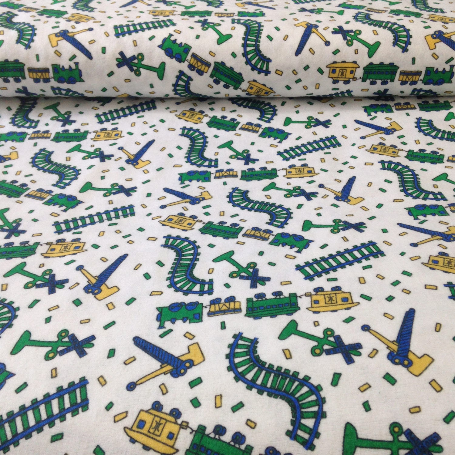 Train track flannel fabric flannel by the yard train for Children s flannel fabric by the yard