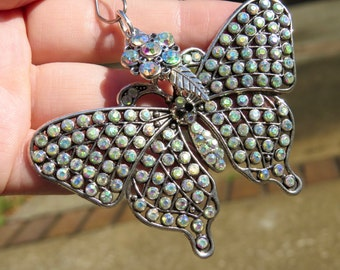 SHIMMERING FLIGHT BUTTERFLY Tree Jewelry Christmas Ornament Jewelry Aurora Borealis