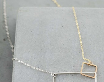 Double Rectangle Necklace, rectangle link necklace, simple elegant jewelry, modern geometric jewelry