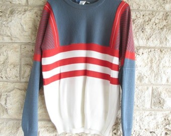 Ocean Pacific Sweater Color Block 90's Ski Sweater Large OP California Sweater Surf Brand