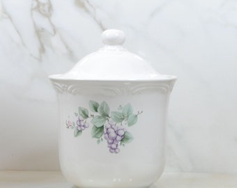 Vintage Pfaltzgraff Grapevine Sugar Canister with Lid, 6.5 inch