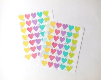 Medium Heart Stickers, Heart Stickers, Pastel/Colorful/Multicolor Stickers, Paper stickers, Size 20mm, Set of 2 sheets or 70 hearts