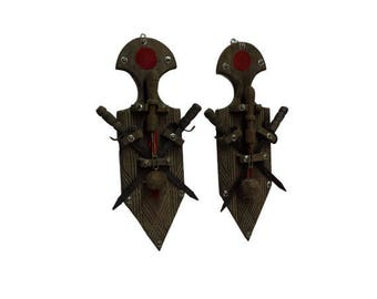 Vintage Gothic Wall Decor, Medieval Sword & Flail Mace Wall Hanging