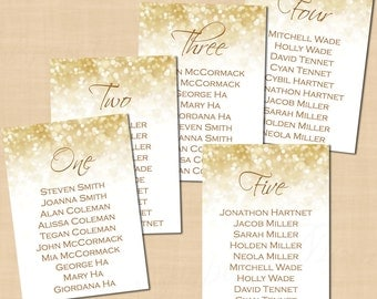 White Gold Sparkles Wedding Table Seating Charts (5x7, Portrait): Text-Editable in Microsoft® Word, Printable Instant Download