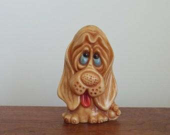 Dog Pencil Holder Sad Hound Dog for Office Desk or Child's Room Brown Hard Plastic Puppy