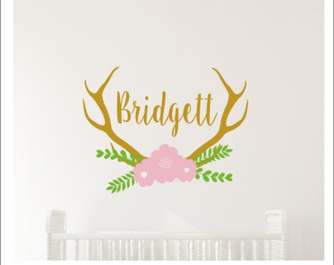 Floral Antler Wall Decal Personalized Trendy Floral Boho Wall Decor Girls Bedroom Wall Decor Antler Monogram Wall Decal Set Nursery Wall