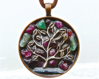 Vortex Tree of Life. NEW Tactile Collection. Touch the Emeralds, Rubies, Garnets and Blue Kyanite Blade. Copper Mandala. Orgone.