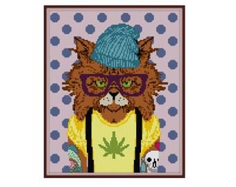 Hipster Cat Cross Stitch Pattern - Cat Cross Stitch Pattern - Tattoo Cross Stitch Pattern - Hipster Cross Stitch - Mar