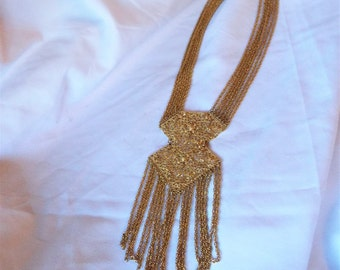 Vintage Long Filigree Fringed Chain Necklace