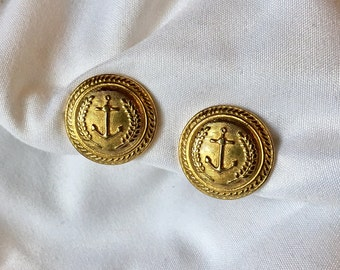 Vintage Anchor Button Clip On Earrings