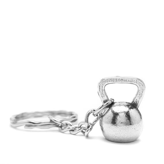Kettlebell Keychain - Crossfit - Nickel Free Workout Accessories - Gym - Motivational Accessories - Gym Gifts - Lifting Key Chain - Pewter