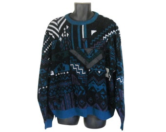 Vintage Men Sweater 80s Sweater Size 2X Tacky Sweater Men Jumper Pullover Sweater Blue Sweater Men Hipster Sweater Knit Sweater Crewneck