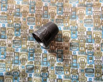 circa 1960's tiki print vintage cotton fabric -- 36 wide by the yard