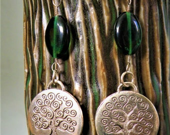 Earthy Tree Earrings - Nature Natural Jewelry - Silver Spiral Coin Green Glass Dangly Hippie Boho Bohemian Gypsy