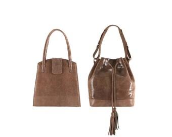 Leather top handle bag MARLA, SOPHIE // brown beige lizard effect (Italian calf skin) - FREE shipping, unique