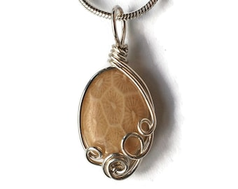 Dainty Fossil Coral Pendant  / Oval Agatized Fossil Coral Necklace / Ancient Ocean Collection / Sterling Silver / Wire Wrap Necklace