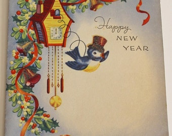 Vintage 1940s Glittery HAPPY NEW YEAR Card - Top Hat Bluebird + Cuckoo Clock (Unused)