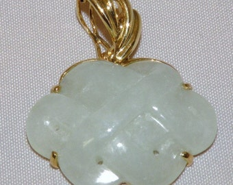 14K Yellow Gold Carved Jadeite Pendant