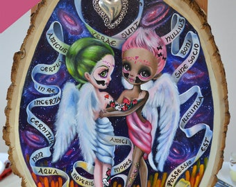 """ORIGINAL PAINTING """"Friends Forever"""" On wood slice Fast Shipping from USA Simona Candini 12""""x17"""" Simona Candini Lowbrow Pop Big Eyes Art"""