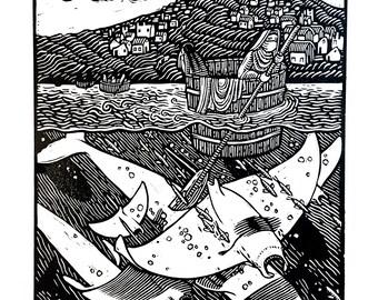 AD 79 - Linocut on paper - Kathleen Neeley