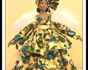 Black Dolls, African American Angel, Kwanzaa Holiday Tree Topper, Black Angel Home Decor, Afrocentric Valentines Day Gift Angel