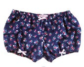 Lolita Bloomers floral print navy silver metallics shorts cotton underwear lingerie drawers pajamas nightwear sleepwear