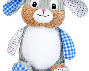 Personalised Blue Bunny Rabbit Stuffie, Baby, gift, New Baby, soft, Stuffed, Animal, Embroidered, Keepsake, Christening, Wedding, Birthday