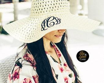 Monogrammed Floppy Sun Hat Embroidered Womens Straw Beach Hat