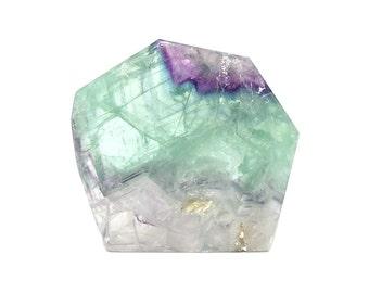 Polished Green, clear and Purple Crystalline Fluorite Semiprecious Gem Stone Slab Polygon Natural Earth Gemstone Carving, Geo Earth Treasure