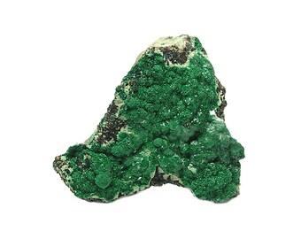Green Malachite Crystalline Druzy on Rock Matrix, from the Old Dominion Copper Mine Arizona, Antique Specimen