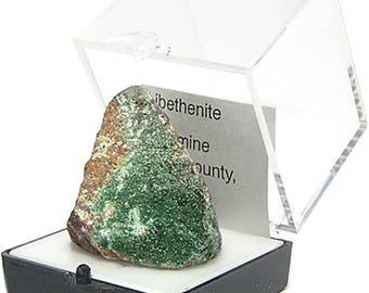 Libethenite Green Crystalline Druzy on rock matrix Rare Arizona Thumbnail Mineral Specimen from an estate, for the expert gemstone collector