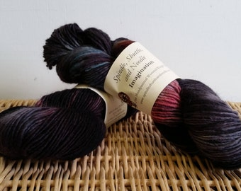 """Hand Dyed Wool Mohair Yarn, """"Red at Morning"""", Kettle Dyed Yarn"""